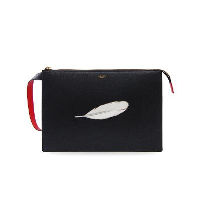 feather clutch black 2